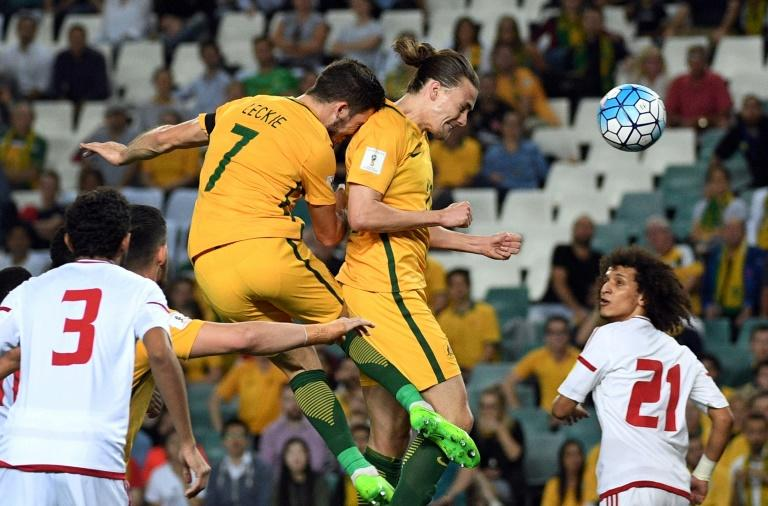 Australia's Jackson Irvine (2nd right) scores with a header against the United Arab Emirates during a World Cup qualifier in Sydney on March 28, 2017