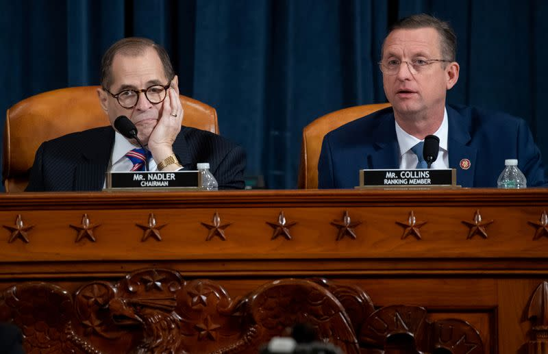 House Judiciary Ranking Member Rep. Doug Collins (R-GA) speaks alongside House Judiciary Committee Chairman Jerrold Nadler (D-NY) during a House Judiciary Committee hearing on the impeachment Inquiry into U.S. President Donald Trump on Capitol Hill