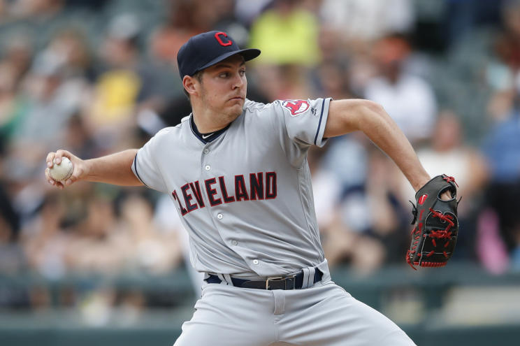 Trevor Bauer struck out nine to earn his 15th win of the season for the Indians. (AP)