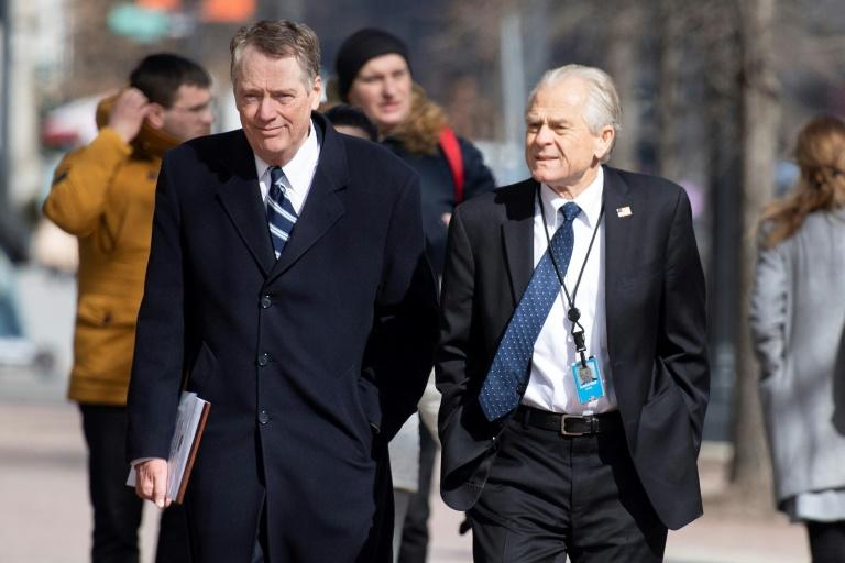 US Trade Representative Robert Lighthizer (L) and White House trade advisor Peter Navarro (R) are part of Washington's team negotiating trade with China