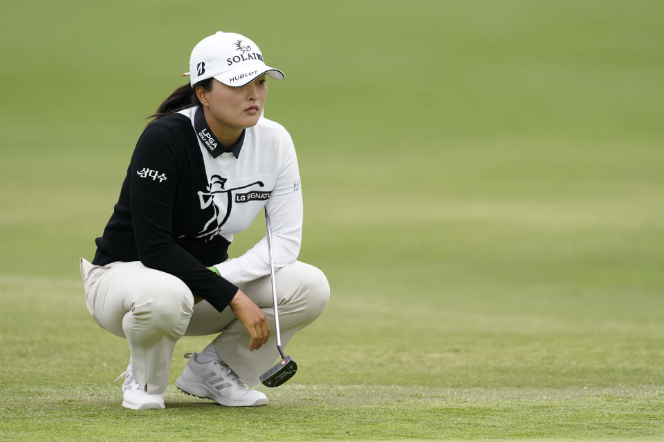 Jin Young Ko lines up her shot on the first green during the second round of the LPGA's Hugel-Air Premia LA Open golf tournament at Wilshire Country Club Thursday, April 22, 2021, in Los Angeles. (AP Photo/Ashley Landis)