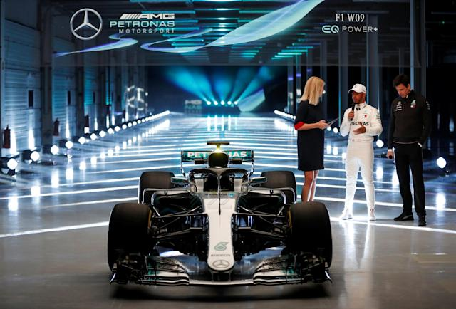 F1 Formula One - Mercedes 2018 Car Launch - Silverstone Circuit, Towcester, Britain - February 22, 2018 Mercedes' Lewis Hamilton and Executive Director Toto Wolff during the launch Action Images via Reuters/Matthew Childs