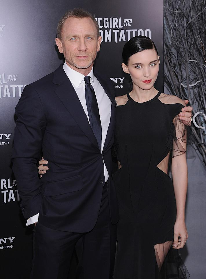 """<a href=""""http://movies.yahoo.com/movie/contributor/1800023173"""">Daniel Craig</a> and <a href=""""http://movies.yahoo.com/movie/contributor/1809789186"""">Rooney Mara</a> at the New York premiere of <a href=""""http://movies.yahoo.com/movie/1810163569/info"""">The Girl With the Dragon Tattoo</a> on December 14, 2011."""