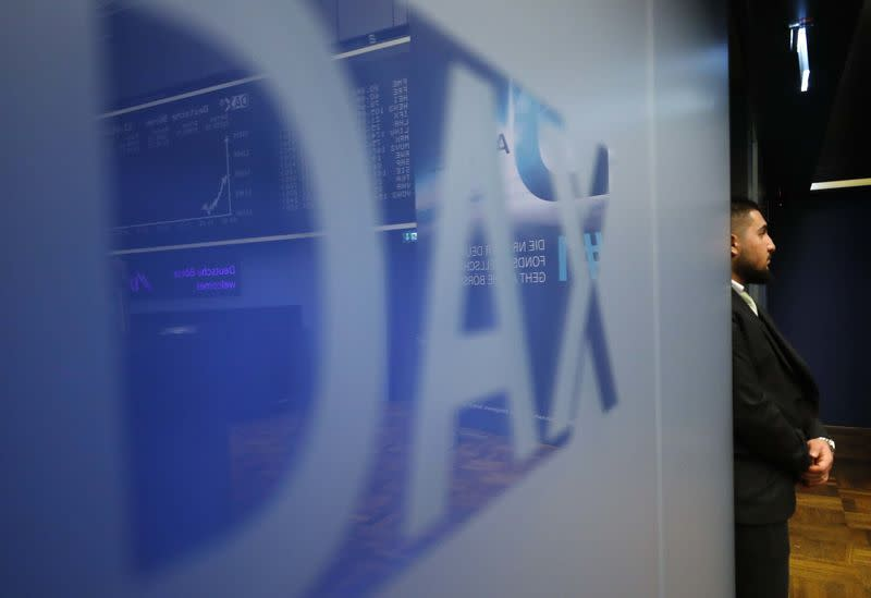 The DAX (German stock index) logo is seen at the stock exchange in Frankfurt, Germany, March 23, 2018. REUTERS/Kai Pfaffenbach