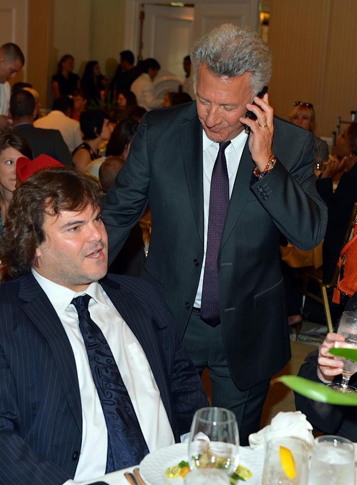 Jack Black and Dustin Hoffman attend at the Hollywood Foreign Press Association's 2012 Luncheon held at the Beverly Hill Hotel on August 9, 2012.