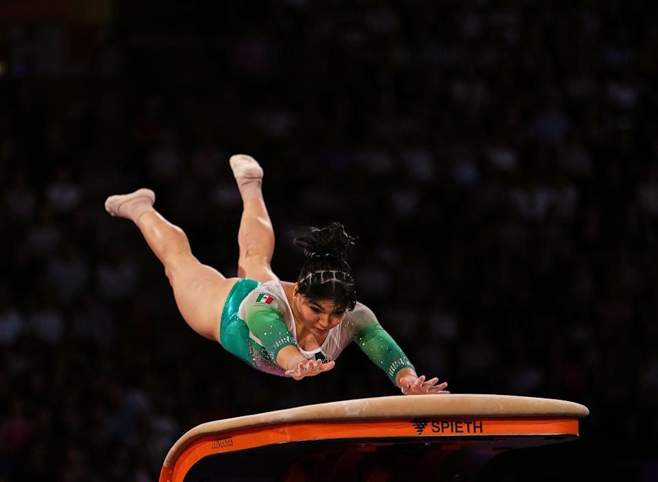 Alexa Moreno of Mexico    during vault for women at the 49th FIG Artistic Gymnastics World Championships in  Hanns Martin Schleyer Halle in Stuttgart, Germany on October 12, 2019. (Photo by Ulrik Pedersen/NurPhoto via Getty Images)
