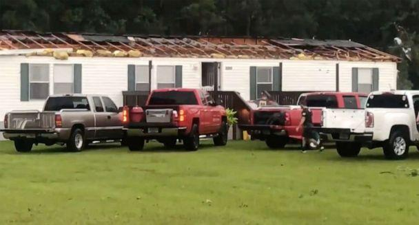 PHOTO: In this screen grab taken from a video, tornado damage is shown on a house in Alabama after Tropical Storm Claudette came through, June 19, 2021. (WEAR)