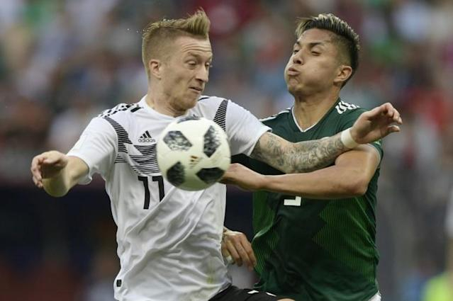 Marco Reus (L) was one the few Germany forwards to shine in the defeat to Mexico during his 30 minutes off the bench in Moscow