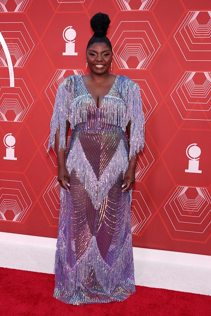 <p>The <em>Slave Play </em>actress — nominated for best performance by an actress in a leading role in a play — stunned in a sparkly, fringe gown. </p>