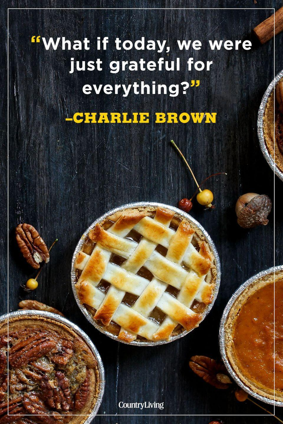 """<p>""""What if today, we were just grateful for everything?""""</p><p><strong>RELATED:</strong> <a href=""""https://www.countryliving.com/food-drinks/g22825950/funny-thanksgiving-quotes/"""" rel=""""nofollow noopener"""" target=""""_blank"""" data-ylk=""""slk:Funny Thanksgiving Quotes to Share With Friends and Family"""" class=""""link rapid-noclick-resp"""">Funny Thanksgiving Quotes to Share With Friends and Family</a></p>"""