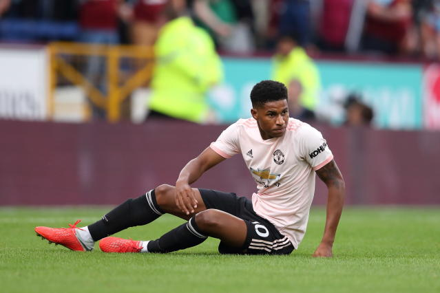 Rashford won a penalty for United at Turf Moor, but it didn't last for long