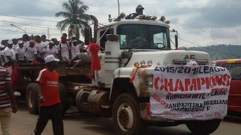 Enugu Rangers hold trophy parade in old rusty truck