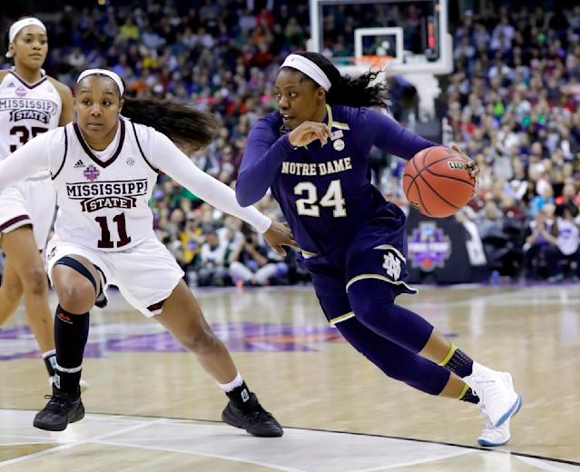FILE - In this Sunday, April 1, 2018 file photo, Notre Dame's Arike Ogunbowale (24) heads to the basket past Mississippi State's Roshunda Johnson (11) during the second half in the final of the women's NCAA Final Four college basketball tournament in Columbus, Ohio. (AP Photo/Ron Schwane, File)