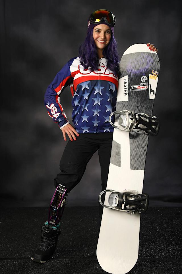 Paralympic snowboarder Brenna Huckaby poses for a portrait during the Team USA Media Summit ahead of the 2018 Olympic Winter Games on Sept. 27, 2017, in Park City, Utah. (Photo: Getty Images)