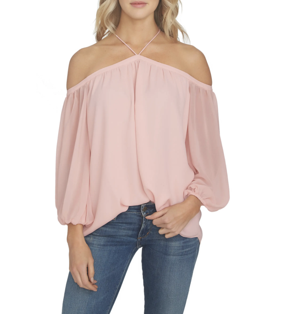 1. State Off the Shoulder Sheer Chiffon Blouse- Nordstrom.