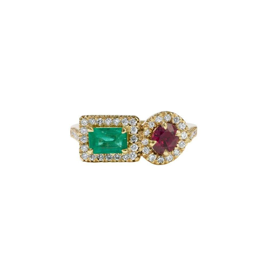 "<p>Toi et moi (meaning: you and me in French) rings were traditionally designed to symbolize two souls becoming one. This one, with ruby and emerald stones, highlights two unique elements becoming one distinctive whole. <br></p><p><em>""The Beloved"" ring with ruby and emerald, $6,620, <a href=""https://meadowlark.co.nz"" rel=""nofollow noopener"" target=""_blank"" data-ylk=""slk:meadowlark.co.nz"" class=""link rapid-noclick-resp"">meadowlark.co.nz</a>.</em></p><p><a class=""link rapid-noclick-resp"" href=""https://meadowlarkjewellery.com/collections/engagement/products/beloved-ring?variant=36344407392412"" rel=""nofollow noopener"" target=""_blank"" data-ylk=""slk:SHOP"">SHOP</a></p>"