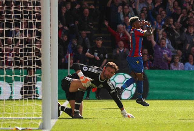 "Soccer Football - Premier League - Crystal Palace vs West Bromwich Albion - Selhurst Park, London, Britain - May 13, 2018 Crystal Palace's Patrick van Aanholt celebrates scoring their second goal as West Bromwich Albion's Ben Foster looks dejected REUTERS/Hannah McKay EDITORIAL USE ONLY. No use with unauthorized audio, video, data, fixture lists, club/league logos or ""live"" services. Online in-match use limited to 75 images, no video emulation. No use in betting, games or single club/league/player publications. Please contact your account representative for further details."