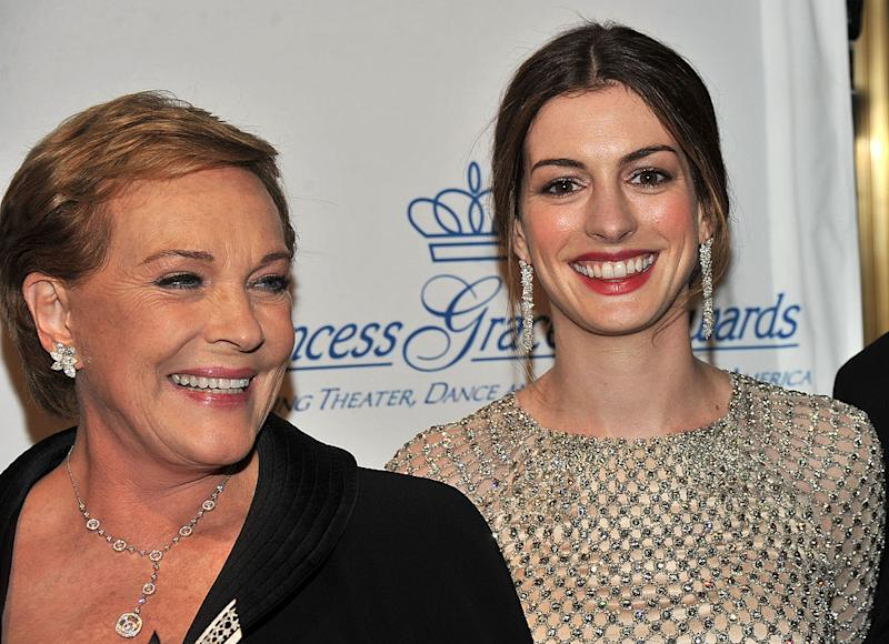Anne Hathaway and Princess Diaries co-star Julie Andrews, pictured together in 2011. (Getty Images)