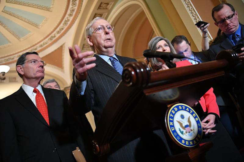 Senate Majority Leader Mitch McConnell, R-Ky., speaks at the U.S. Capitol in Washington, D.C. on Tuesday. (Getty Images)