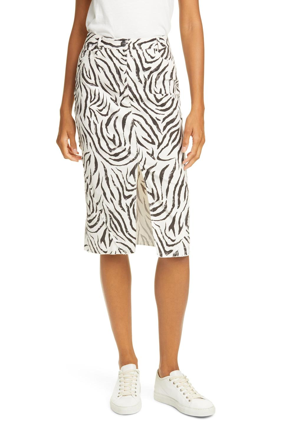 """<p><strong>ATM </strong></p><p>nordstrom.com</p><p><strong>$88.50</strong></p><p><a href=""""https://go.redirectingat.com?id=74968X1596630&url=https%3A%2F%2Fshop.nordstrom.com%2Fs%2Fatm-anthony-thomas-melillo-zebra-print-denim-skirt%2F5441203&sref=https%3A%2F%2Fwww.marieclaire.com%2Ffashion%2Fstreet-style%2Fg32046163%2Fbest-denim-skirts%2F"""" rel=""""nofollow noopener"""" target=""""_blank"""" data-ylk=""""slk:Shop It"""" class=""""link rapid-noclick-resp"""">Shop It </a></p><p>For a bit of variety, try this graphic black-and-white animal print denim skirt. </p>"""