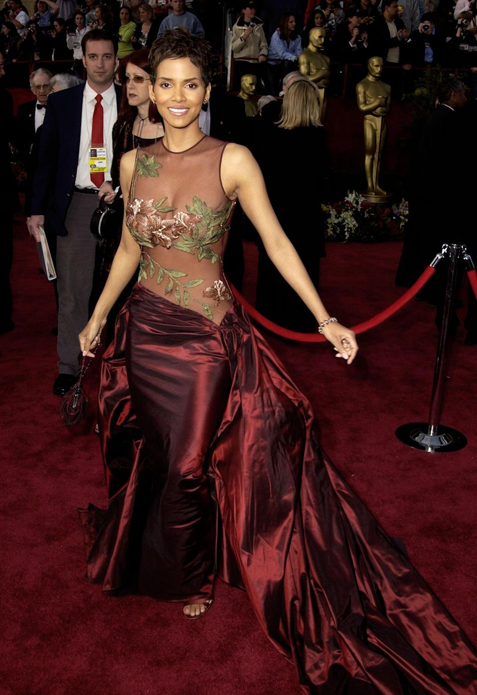 <p>Halle wore an Elie Saab gown with a sheer bodice and a full skirt to the awards in 2002, where she became the first black woman to win an Oscar for best actress in a leading role.</p>