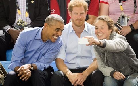 <span>A young fan takes a selfie with the friends at the Invictus Games</span> <span>Credit: Samir Hussein/WireImage </span>