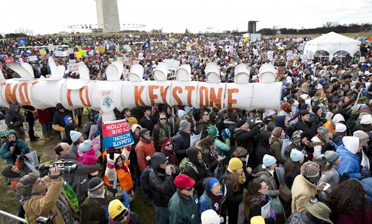 In 2013, protesters gathered at the National Mall in Washington to call on President Barack Obama to reject the Keystone XL oil pipeline. Photo from AP Photo/Manuel Balce Ceneta