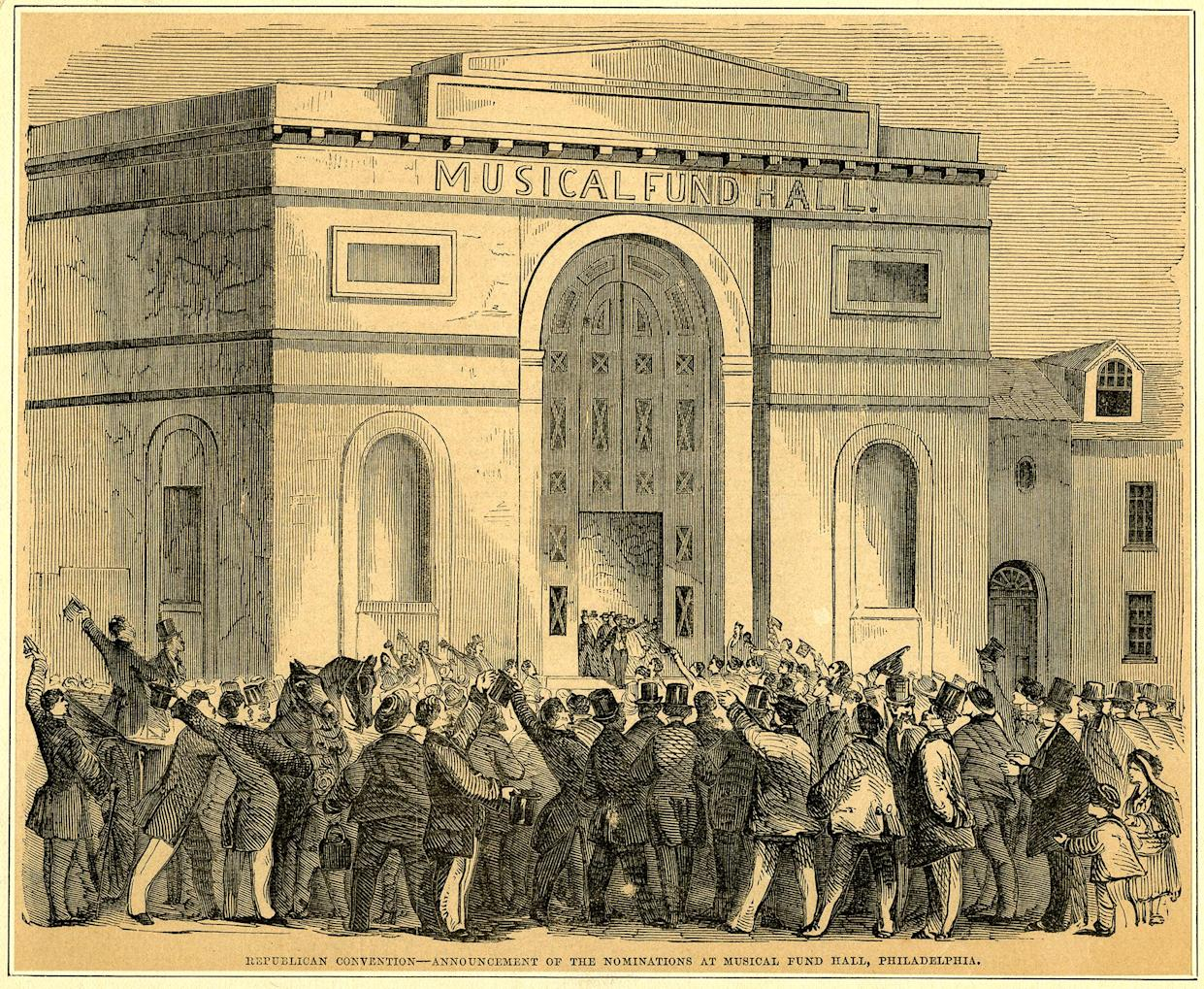 """""""Republican Convention – Announcement of the Nominations at Musical Fund Hall, Philadelphia"""" newspaper print, 1856. (Collection of the Historical Society of Pennsylvania)"""