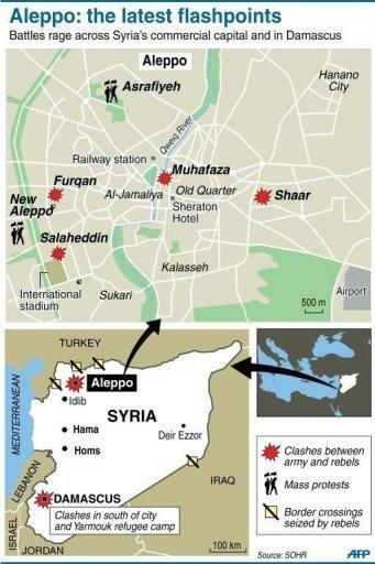 Map locating fighting between army and rebels in Aleppo, Syria's commercial hub