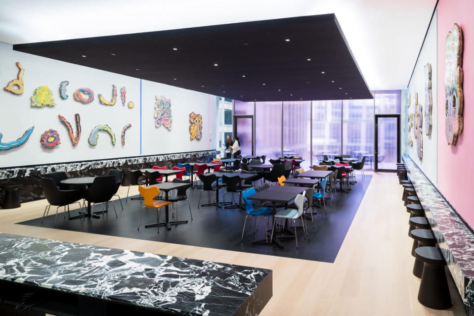 """This undated image released by the The Museum of Modern Art shows the installation """"View of Fossil Psychics for Christa"""" by Kerstin Brätsch in The Caroll and Milton Petrie Terrace Sixth Floor Café, part of the renovation and expansion effort at MoMA in New York. As the Museum of Modern Art in Manhattan prepares to reopen following a $450 million, 47,000 square foot expansion, visitors can prepare for much more than much-needed elbow room there - and new juxtapositions of works meant to encourage broader perspectives and new narratives. (Iwan Baan/MoMA via AP)"""