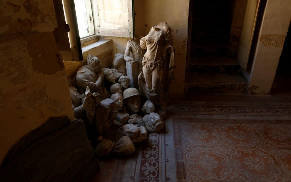 Pieces of broken statues that were recovered from the garden are piled up in a room at Villa Guardamangia, a former residence of Britain's Queen Elizabeth and Prince Philip, in Pieta, Malta, June 23, 2020 - Reuters/DARRIN ZAMMIT LUPI