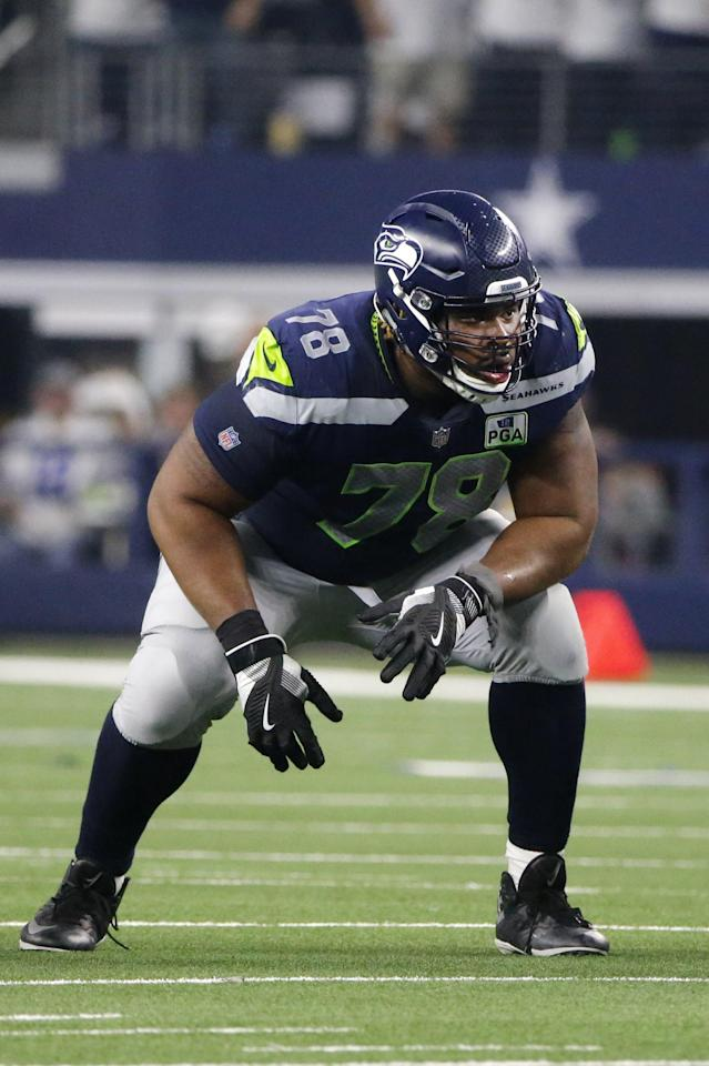 Seattle Seahawks guard D.J. Fluker (78) lines up against the Dallas Cowboys during an NFC wild-card NFL football game in Arlington, Texas, Saturday, Jan. 5, 2019.(AP Photo/Michael Ainsworth)