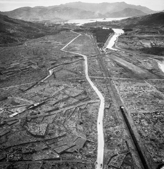 <p>Almost nothing remained of this district in Nagasaki, Japan, as the result of the atomic bomb attack. (Photo: Corbis via Getty Images) </p>