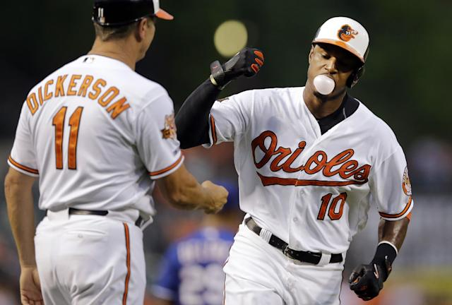Baltimore Orioles' Adam Jones, right, fist-bumps third base coach Bobby Dickerson while rounding the bases after hitting a solo home run in the fourth inning of a baseball game against the Texas Rangers, Wednesday, July 2, 2014, in Baltimore. (AP Photo/Patrick Semansky)