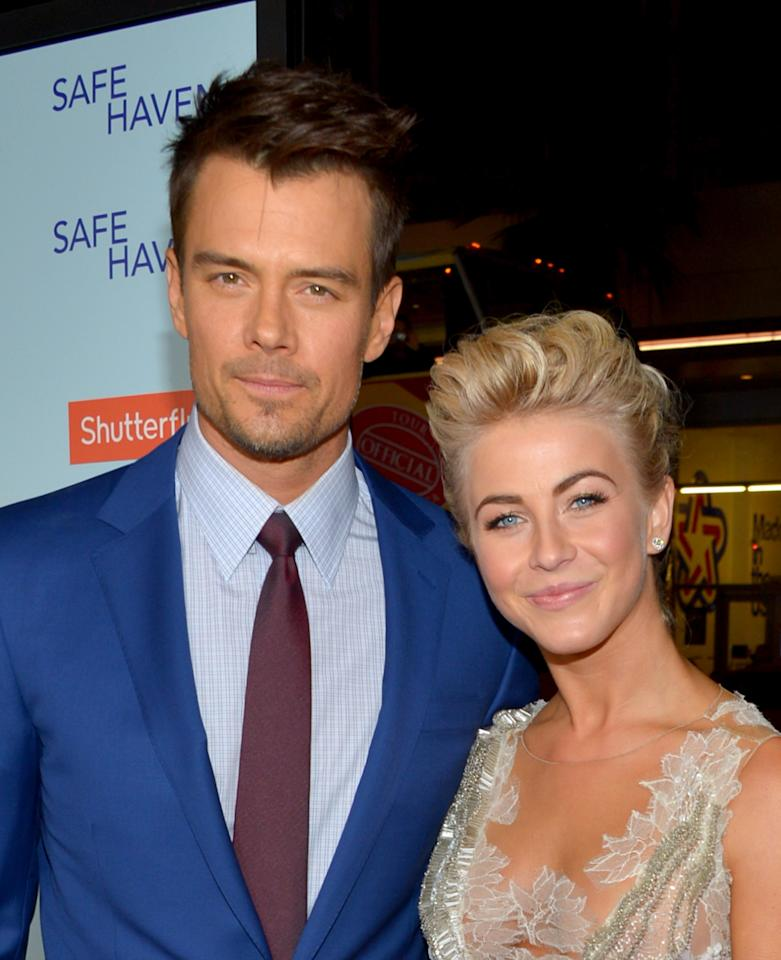 """HOLLYWOOD, CA - FEBRUARY 05:  Actors Josh Duhamel (L) and Julianne Hough arrive at the premiere of Relativity Media's """"Safe Haven"""" at TCL Chinese Theatre on February 5, 2013 in Hollywood, California.  (Photo by Alberto E. Rodriguez/Getty Images for Relativity Media)"""
