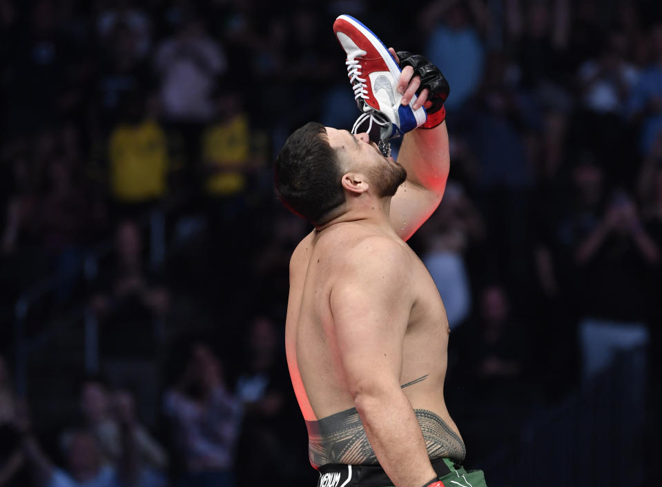 LAS VEGAS, NEVADA - JULY 10: Tai Tuivasa of Australia reacts after knocking out Greg Hardy in their heavyweight fight during the UFC 264 event at T-Mobile Arena on July 10, 2021 in Las Vegas, Nevada. (Photo by Chris Unger/Zuffa LLC)