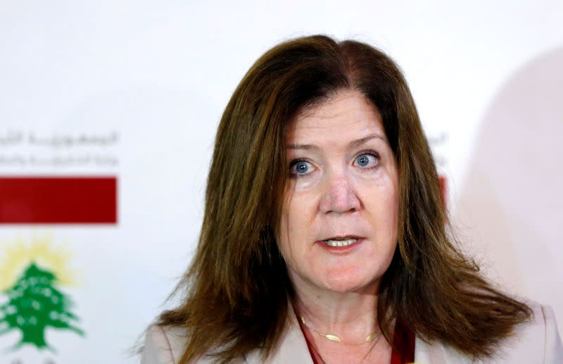 FILE PHOTO: U.S. Ambassador to Lebanon Dorothy Shea speaks during a news conference in Beirut