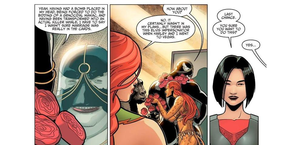 Poison Ivy remembers her wedding to Harley Quinn in an issue of 'Injustice 2' (Photo: DC Comics)