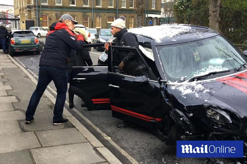 Ant McPartlin pictured in the aftermath of the crash