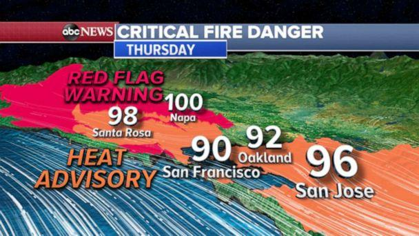 PHOTO: Critical Fire Danger map (ABC News)