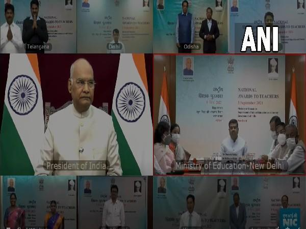 Visual of virtual interaction chaired by President Ram Nath Kovind (Photo/ANI)