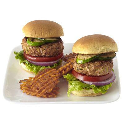 """<p>These burgers get a burst of flavor from Indian curry paste and sweet mango chutney.</p><p><strong><a href=""""https://www.countryliving.com/food-drinks/recipes/a33394/turkey-tikka-burgers-recipe-rbk0612/"""" rel=""""nofollow noopener"""" target=""""_blank"""" data-ylk=""""slk:Get the recipe"""" class=""""link rapid-noclick-resp"""">Get the recipe</a>.</strong></p><p><strong><a class=""""link rapid-noclick-resp"""" href=""""https://www.amazon.com/Utopia-Kitchen-Pre-Seasoned-Cast-Skillet/dp/B00X4WQMAS/?tag=syn-yahoo-20&ascsubtag=%5Bartid%7C10050.g.31929300%5Bsrc%7Cyahoo-us"""" rel=""""nofollow noopener"""" target=""""_blank"""" data-ylk=""""slk:SHOP LARGE SKILLETS"""">SHOP LARGE SKILLETS</a><br></strong></p>"""