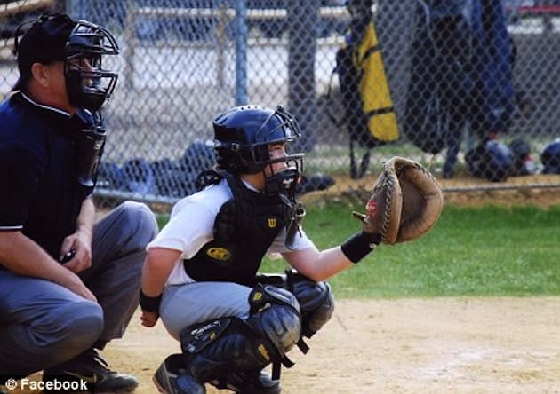 13-year-old catcher Matthew Migliaccio, who is being sued for a bullpen overthrow — Facebook