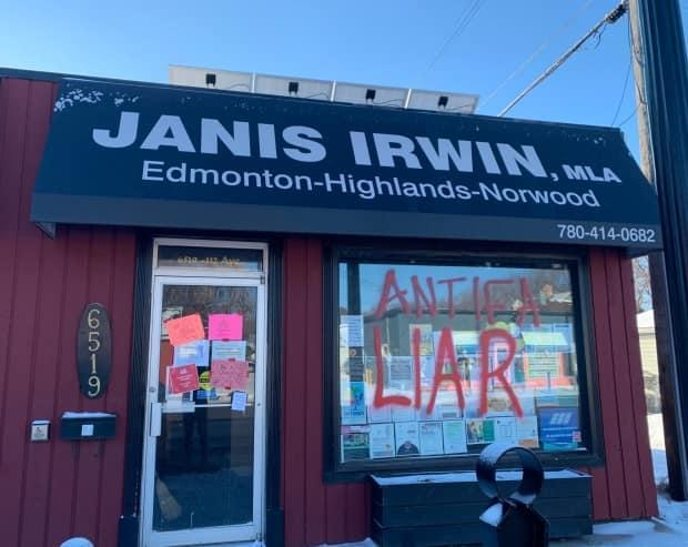 Edmonton Highlands-Norwood MLA Janice Irwin shared a photo on Twitter after her constituency office was tagged with graffiti on Feb. 27, 2021. (Janis Irwin/Twitter - image credit)