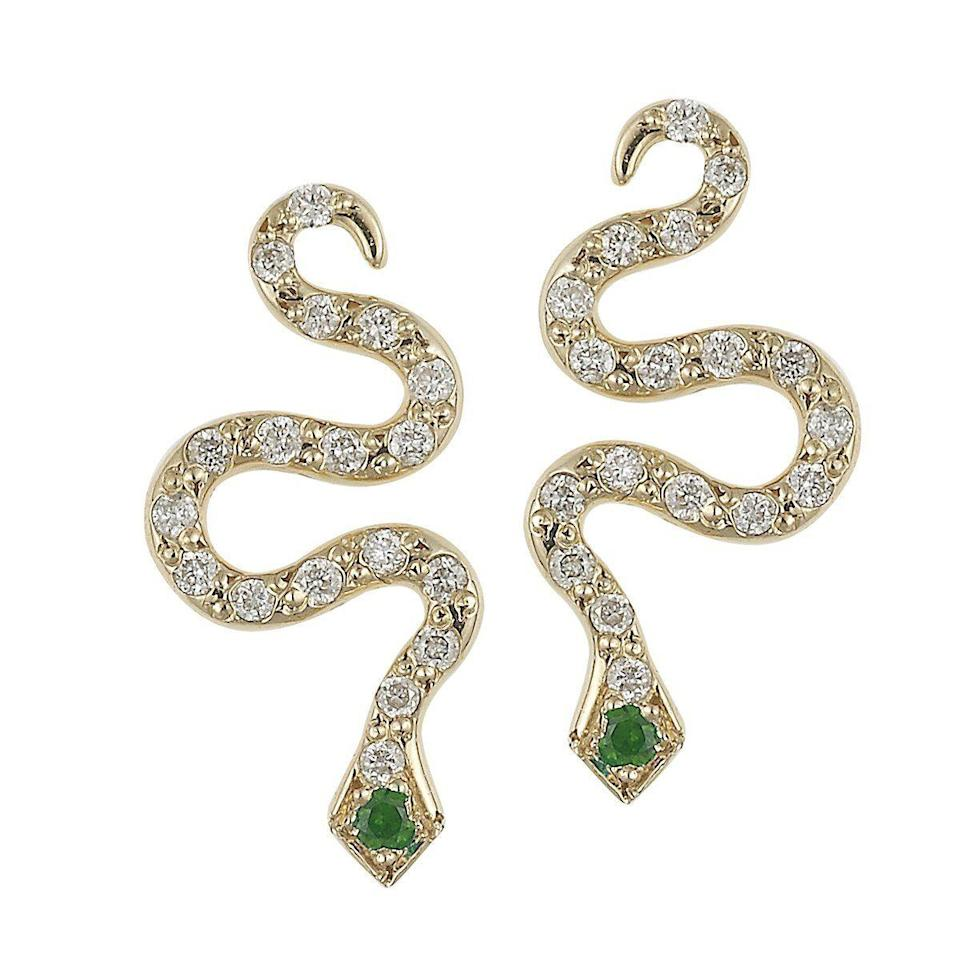 "<p><a class=""link rapid-noclick-resp"" href=""https://www.youronce.com/ileana-makri-02.0339.02.026-little-snake-18-karat-yellow-gold-diamond-and-tsavorite-stud-earrings.html"" rel=""nofollow noopener"" target=""_blank"" data-ylk=""slk:SHOP NOW"">SHOP NOW</a></p><p>Effortlessly elegant stud earrings from Ileana Makri's bestselling snake collection. </p><p>Yellow gold, diamond and tsavorite earrings, £1,110, Ileana Makri at Youronce.com</p>"