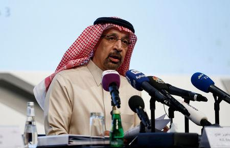 Saudi Energy Minister Khalid al-Falih speaks during a news conference in Riyadh, Saudi Arabia
