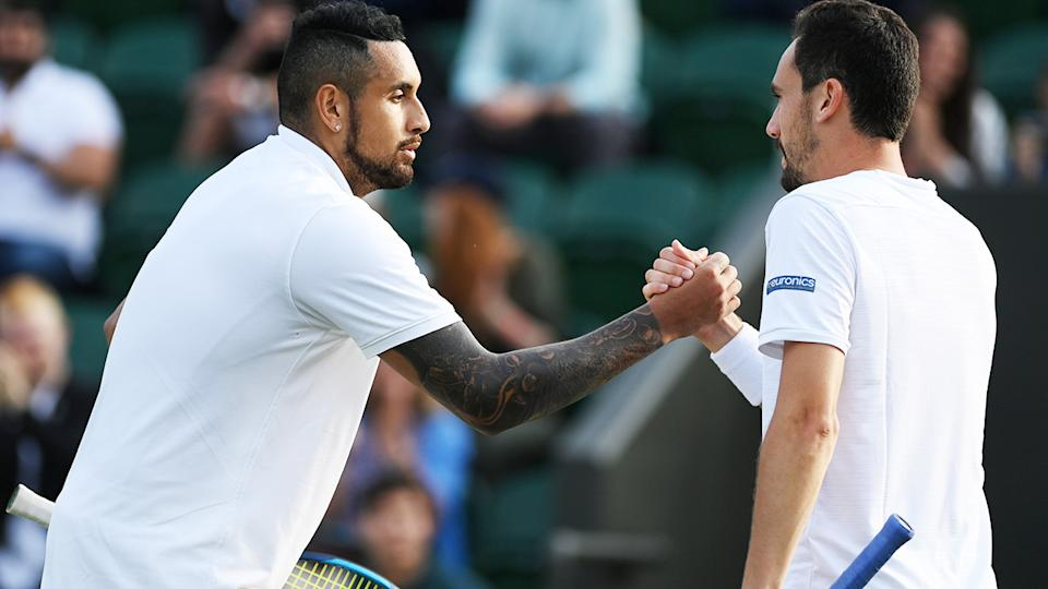 Nick Kyrgios and Gianluca Mager, pictured here shaking hands after the clash at Wimbledon.