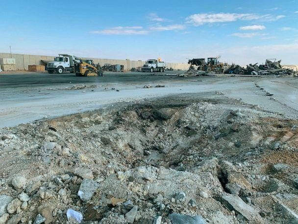 PHOTO: In this Jan. 13, 2020 file photo, Iranian bombing caused a crater at Ain al Asad air base in Anbar, Iraq. (File/Ali Abdul Hassan/AP)