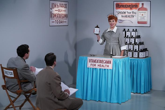 """<h1 class=""""title"""">Will & Grace - Season 316</h1> <div class=""""caption""""> The <em>Will & Grace</em> crew paid close attention to detail when recreating the sets of <em>I Love Lucy</em> for an episode, even purchasing vintage props on Ebay. </div> <cite class=""""credit"""">Photo: Chris Haston/NBC/NBCU Photo Bank via Getty Image</cite>"""