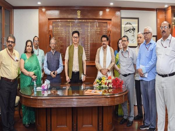 Union Law and Justice Minister Kiren Rijiju (centre) with senior officials (Photo/ANI)